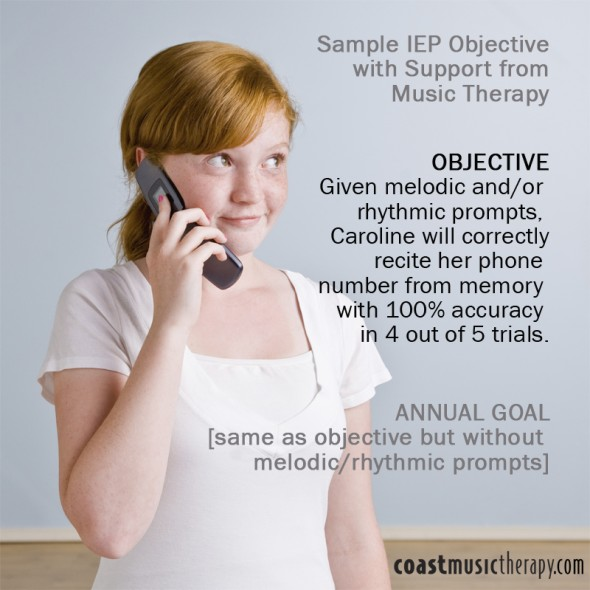 Music Therapy IEP Goal to Teach Phone Number Memorization- Coast Music Therapy