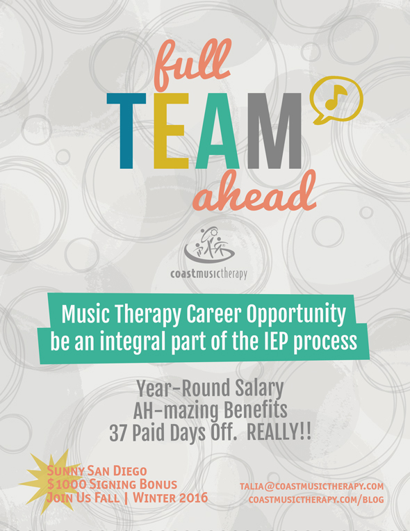 San Diego Music Therapy Job | IEP 12-Month Salary 2016