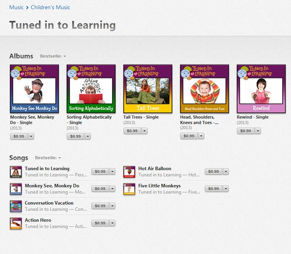 Tuned in to Learning iTunes - Music Therapy Songs