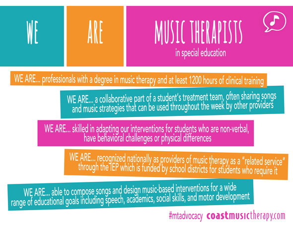 We Are Music Therapists - Special Education Music Therapy Advocacy Poster 2014